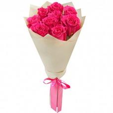Букет Розовые розы в крафте из 9 ро...